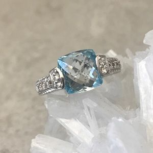 Sterling Silver Ring with Blue Topaz & Diamonique